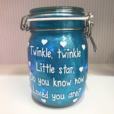 Twinkle Twinkle Little Star Glitter Night Light Jar