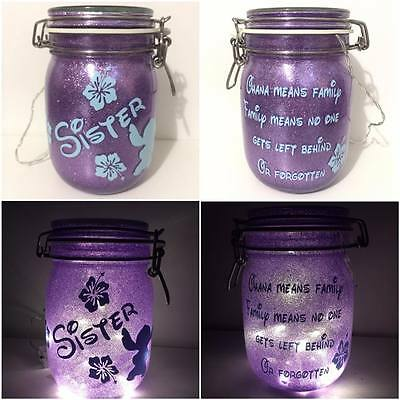 Personalised Disney Ohana Lilo & Stitch Night Light Jar