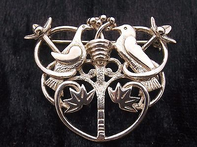 Sterling Silver Brooch by  Ola Gorie  'TREE OF LIFE'    Lovebirds  Scottish 1987