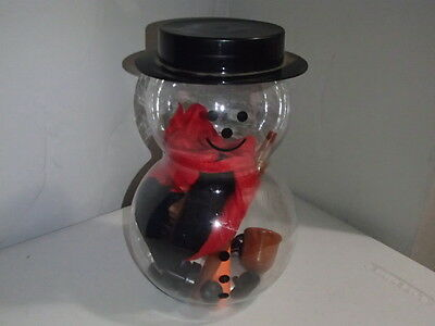 Plastic SNOWMAN KIT Includes Hat/Scarf/Carrot Nose/Pipe/Buttons CRAFT/Decoration