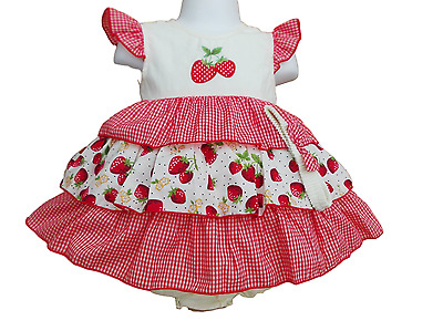 BNWT Baby girl red and cream strawberry frilly gingham dress knickers hairband