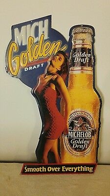 Vintage Michelob Golden Draft 35x18 Tin Bar Sign - Smooth Over Everything