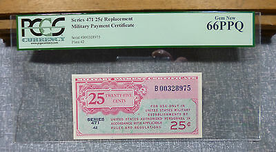 Rare Series 471 PCGS 66PPQ 25¢ Replacement Military Payment Certificate