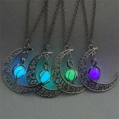 "1.5"" CRESCENT MOON with GLOW IN THE DARK Dangle Pendant 19"" Necklace Luminous"