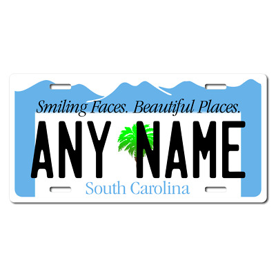 Personalized South Carolina License Plate for Bicycles, Kid's Bikes & Cars Ver 2