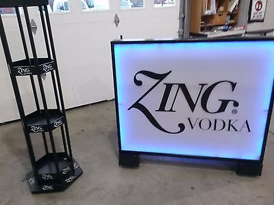 Portable Mobile Bar Zing Vodka Lighted Liquor Stand