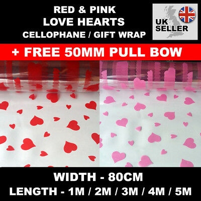 Red Love Hearts Clear Cellophane Gift Wrap 80cm with FREE Pull Bow