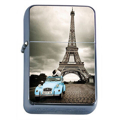 Vintage Poster D34 Windproof Dual Flame Torch Lighter Eiffel Tower Blue Car Kiss