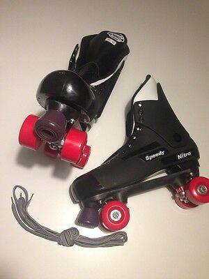 SPEEDY NITRO Quad Roller Skate,Turbo 33/Bauer Style-MENS 10-CLEAR RED WHEELS