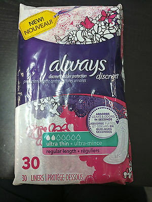 Always Discreet Ultra Thin, Regular Length Incontinence Liners, 30 ct