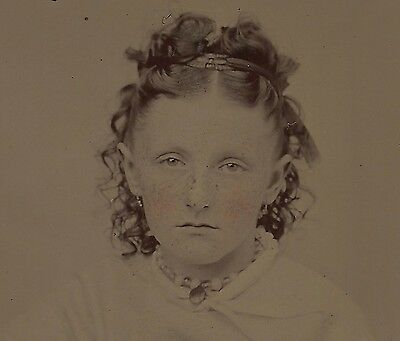 OLD VINTAGE ANTIQUE TINTYPE PHOTO PRETTY YOUNG TEEN GIRL w/ FRECKLES & SAD FACE