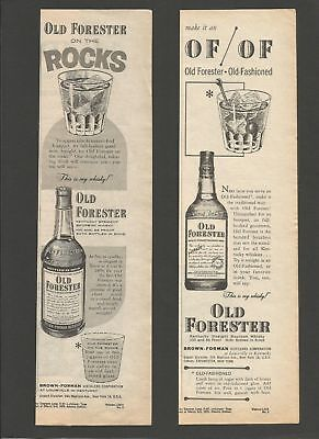 OLD FORESTER Kentucky bourbon Whisky 1956/57 2 Vintage Mini Print Ads # 55 5