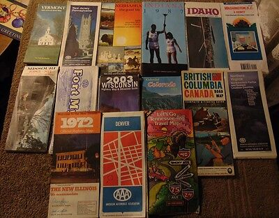 Lot of 15 Assorted Older Official US & Canada Road Map (Assorted Dates 1965-03)