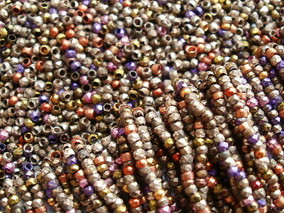 Antique Victorian French Steel Cut Metal Bead Multicolor Micro Seed Purse Repair