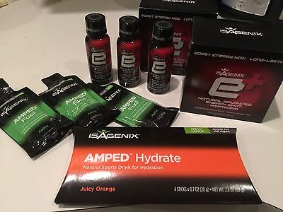 2 Full Boxes Isagenix E+ Energy Shots 6 Pack $40+ MSRP Each plus Lots Of Extras