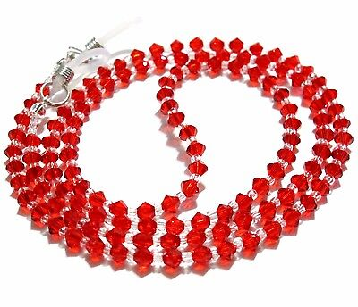 Red Crystal Sunglasses Read Glasses Spectacles Spec Eyeglass Holder Cord Chain