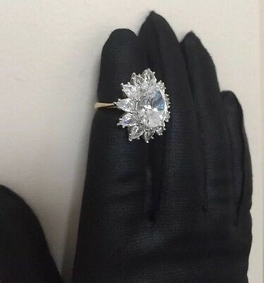 Vintage PCI Gold Plated Cocktail Ring Large Zirconia CZ Size 6.25 HSN QVC ?