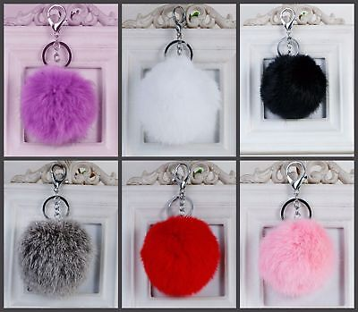 Rabbit angora Fur Pom Pom Ball Keychain Ring Key charm Purse handbag Pendant