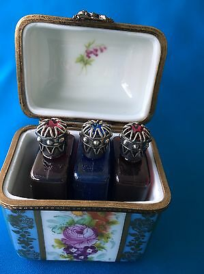 Vtg Parry Vieille Limoge Marque Deposee Trinket Box 3 Perfume Scent Bottle Chest