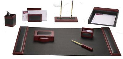 Dacasso Rosewood and Leather Desk Set, 8-Piece