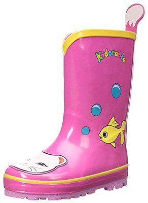 Kidorable Lucky Cat Rain Boot (Toddler/Little Kid), Pink, 6 M US Toddler