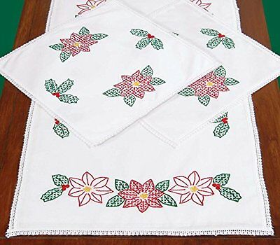 Jack Dempsey Stamped Dresser Scarf and Doilies Lace Edge, Poinsettias