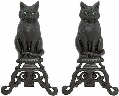 Uniflame, A-1251, Black Cast Iron Cat Andirons with Reflecti