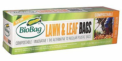 BioBag Lawn & Leaf Waste Bags, 33 Gallon, 10 Count (Pack of
