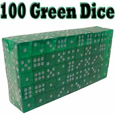 Brybelly Dice (100 Count), Green, 19mm