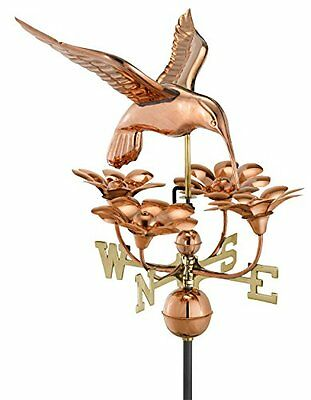 Good Directions 913P Hummingbird with Flowers Weathervane, Polished Copper