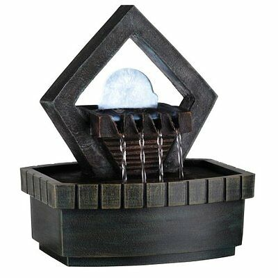 ORE Intl K324 Indoor Diamond Meditation Table Fountain with LED Light, 9-1/