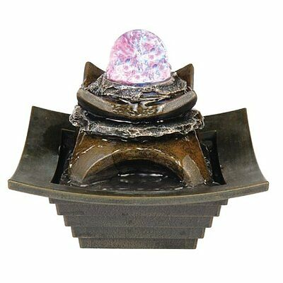 ORE International K327 Indoor Square Tier Table Fountain with LED Light, 8-