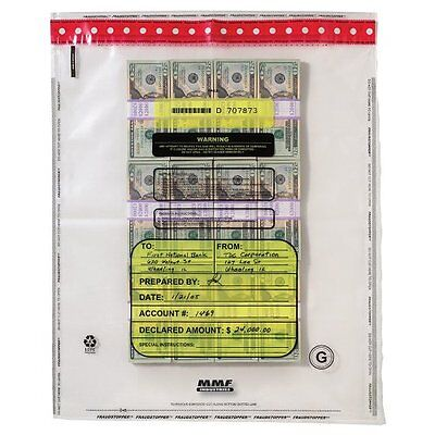 MMF Industries 16 Bundle Capacity Tamper-Evident Cash Bags, 20 x 28, Clear,