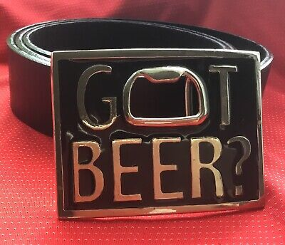 Chrome Ring Tin Pull Beer Lager Bottle Opener Stubby Ale Buckle And Leather Belt