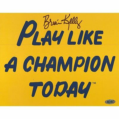 NCAA Brian Kelly Play Like a Champion Today Autographed 8-by