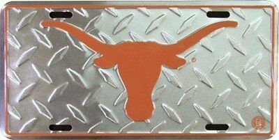 Texas Longhorns diamond emboss metal license plate 6 x 12