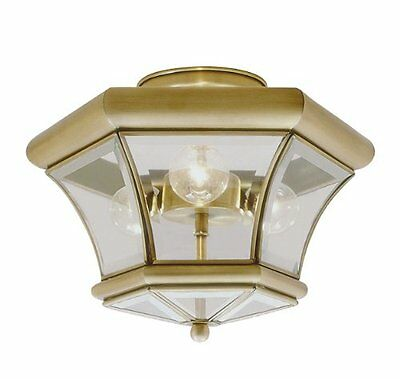 Livex Lighting 4083-01 Flush Mount with Clear Beveled Glass Shades, Antique