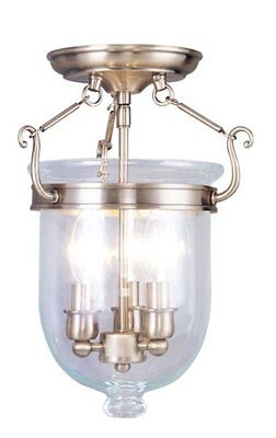 Livex Lighting 5061-01 Flush Mount with Clear Glass Shades, Antique Brass