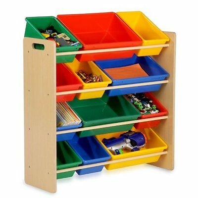 Honey-Can-Do SRT-01602 Kids Toy Organizer and Storage Bins  Natural/Primary
