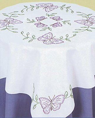 Jack Dempsey Stamped White Perle Edge Table Topper, 35-Inch
