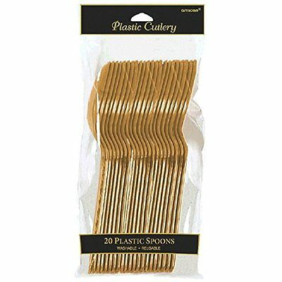 Amscan Reusable Party Plastic Spoons Cutlery, Gold, Standard