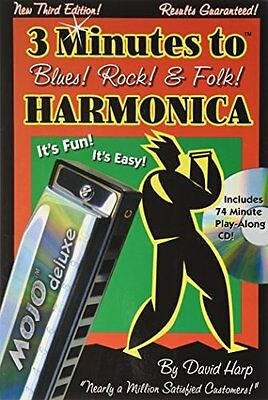 3 Minutes to Blues Rock & Folk Harmonica Softcover wCD
