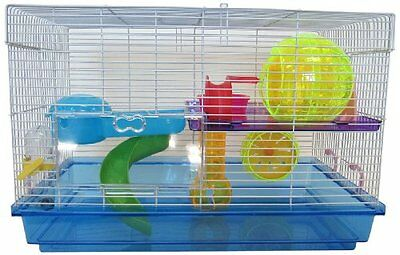 YML Clear Plastic Dwarf Hamster Mice Cage with Color Accessories  Blue