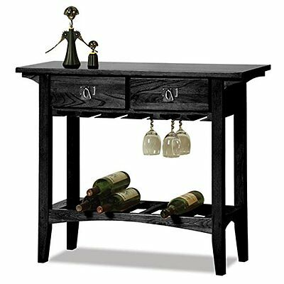 Leick Mission Wine Table with Storage Drawers, Slate Black F