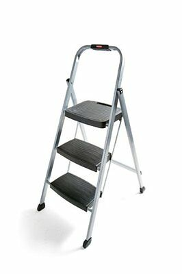 Rubbermaid RM-3W Folding 3-Step Steel Frame Stool with Hand
