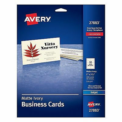 Avery Ivory Matte Business Cards 2 x 3.5 inches 100 Cards / 10 Sheets 27883 NEW