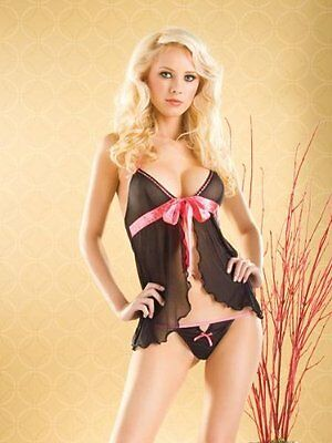 2 Pcs Open Front Babydoll (Pink/Black;One Size)