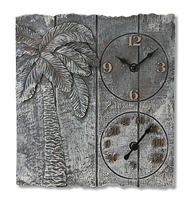 """Springfield 12""""x13"""" Palm Tree Poly Resin Clock with Thermome"""