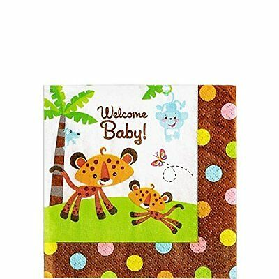 Fisher Price Beverage Napkins (16) Baby Shower Monkey Jungle Party Supplies