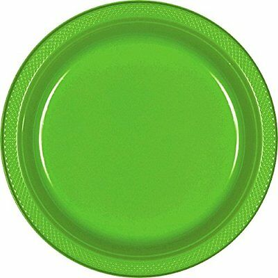 Amscan Reusable Round Party Dessert Plates (20 Piece), Green